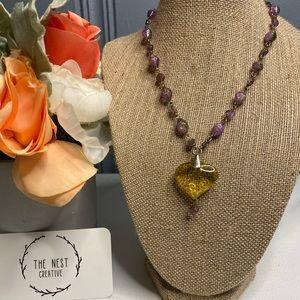 Vintage Monet Purple & Yellow Necklace